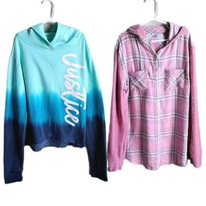 Justice 2 Long Sleeve Tops w/ hoods pink & blue